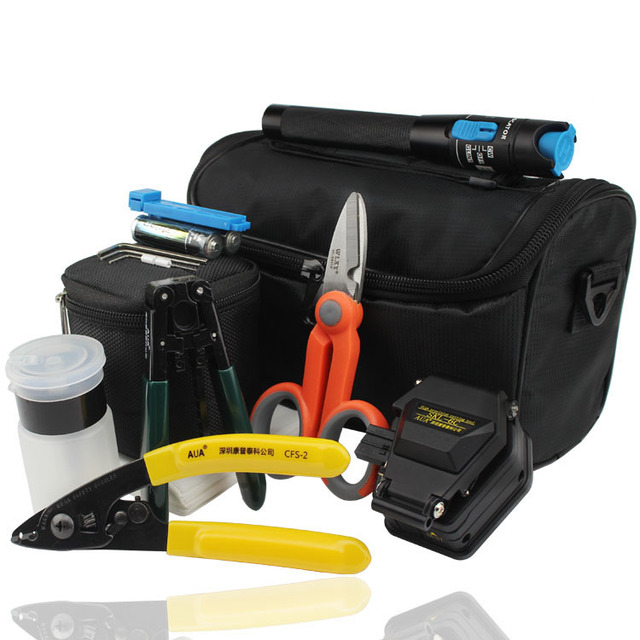 Fibre Optic Tools with SKL-6C Optical Fiber Cutter and Laser Visual Fault Locator Fiber Tester VFL 1mw and Kevlar Scissors