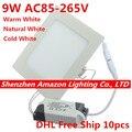 9 Вт Встраиваемый светодиодный потолочный светильник квадратная Светодиодная панель светильник с драйвером AC85-265V Светодиодная лампа 10 шт./...