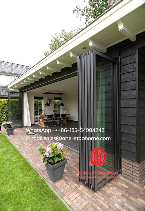 Matt Black Color Grille French Design Aluminum Glass Bifold Door For Balcony,Outdoor Dividers Soundproof Fold Door