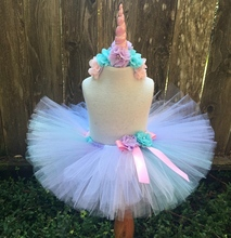 Girls Pastel Tutu Skirts Baby Fluffy Tulle Skirt Ballet Pettiskirts with Flower Ribbon Bow and Unicorn Hairbow Kids Party Tutus