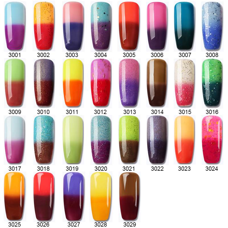 8ML Temperature Change Color UV Gel Nail Polish Long Lasting Colorful Thermo Nail Gel Polish Soak Off UV Gel Nail Lacquer