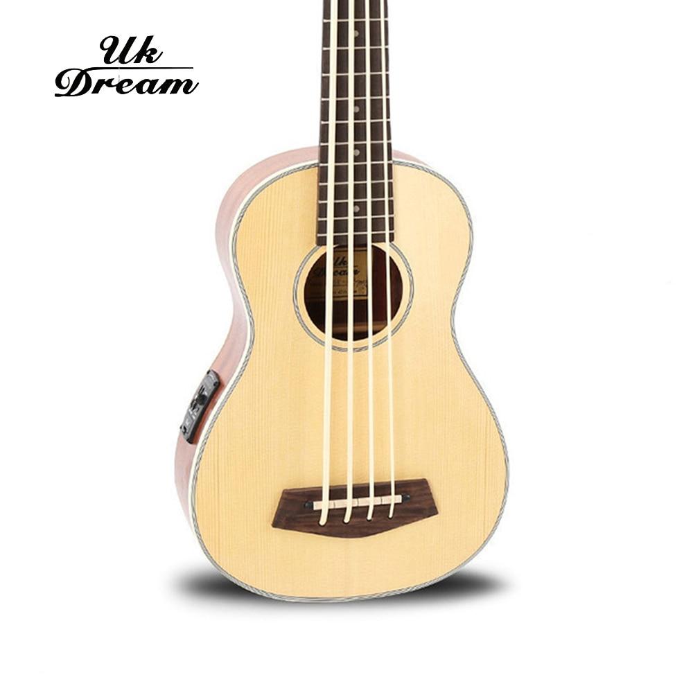 30 pouces guitare basse électrique en bois 4 cordes ukulélé Instruments de musique professionnel Picea Asperata U basse ukulélé UB-513 - 4