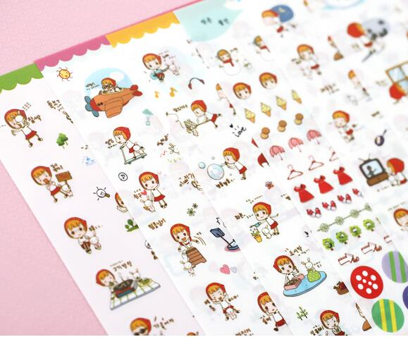 6 pcs/set Kawaii Red Hat Girl Stickers Set Decorative Stationery Stickers Label Sticker auto accessories chameleon sticker 30m 1 52m functional car pvc red copper color stickers home decorative films stickers