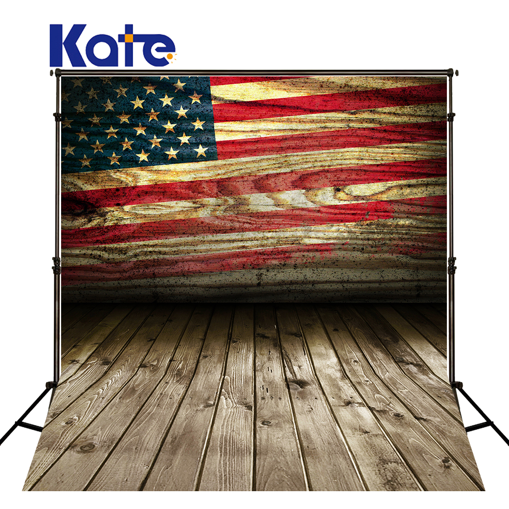 Kate 5X7FT Old Wood American Flag Stage Backdrops Photography for Independence Day Wooden Floor Children Photography Background
