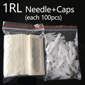 100Pcs 1r Permanent Makeup Needles Caps Traditional 1 rl Needle Tips Microblading For Tattoo Eyebrow Pen Machine 0.35x50 mm