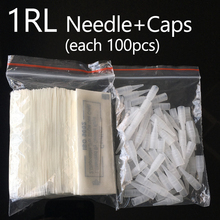 100Pcs 1r Permanent Makeup Needles Caps Traditional 1 rl Needle Tips Microblading For Tattoo Eyebrow Pen Machine 0.35×50 mm