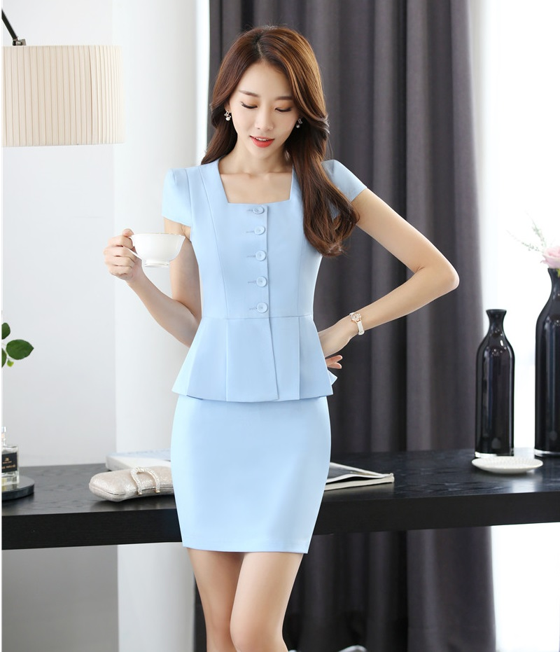 Summer Formal Two Piece Sets Women Business Suits with Skirt and Jacket Top Sets Ladies Work