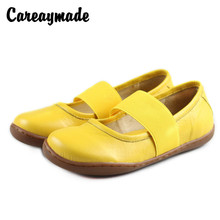 Careaymade-Spring Top Cowhide Handmade Shoes Mori Womens Literary Flat-soled Female Genuine Leather Leisure Lazy