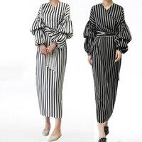 Vestidos 2018 UAE Kaftan Abaya Dubai Indonesia Arabic Women Long Striped Maxi Muslim Hijab Dress Turkish Islamic Jurken Clothing