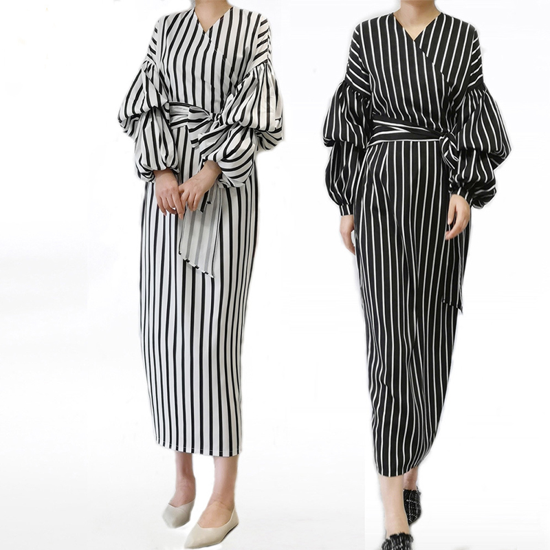 Vestidos 2019 Kaftan Abaya Dubai Arabic Women Long Striped Maxi Muslim Hijab Dress Caftan Marocain Turkish Islamic Clothing