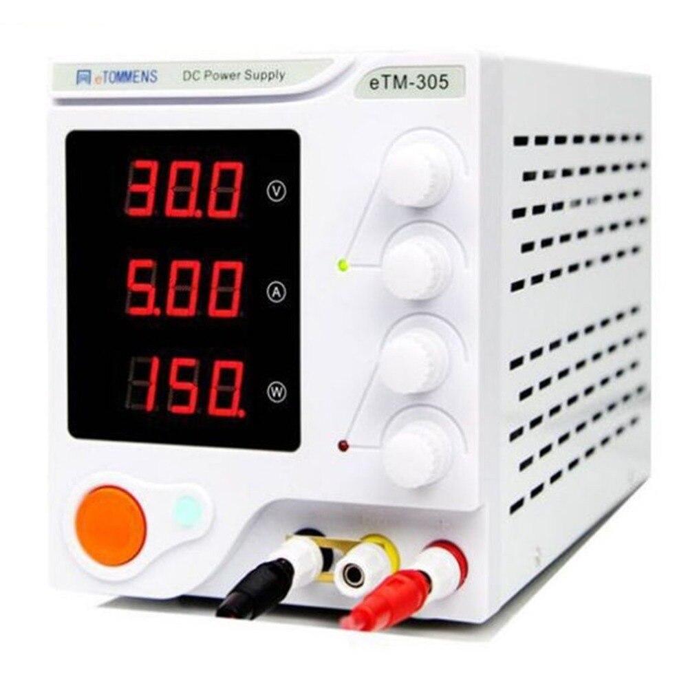 0-30 V 0-5A haute précision 3 affichage numérique DC dispositif d'alimentation pour les ateliers laboratoire ETM-305 prise EU un contrôle de clé