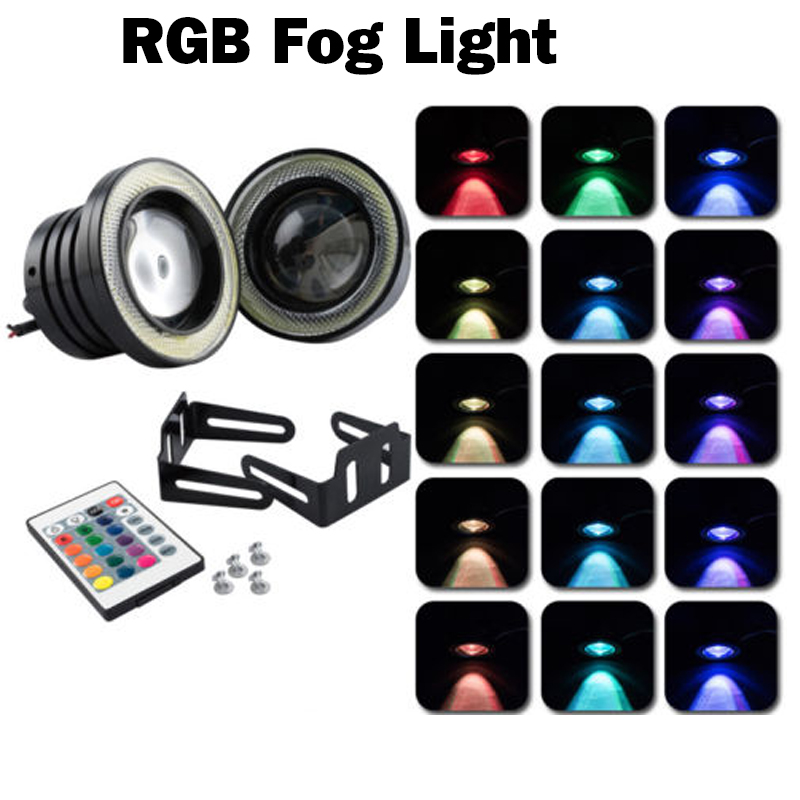 White/Amber/Red/Green/Blue/Ice Blue/Pink 7 Colors COB Angel Eyes Led RGB Devil Fog Lights Car Headlight Lamp Universal 76mm 89mm led headlight lights angel eyes