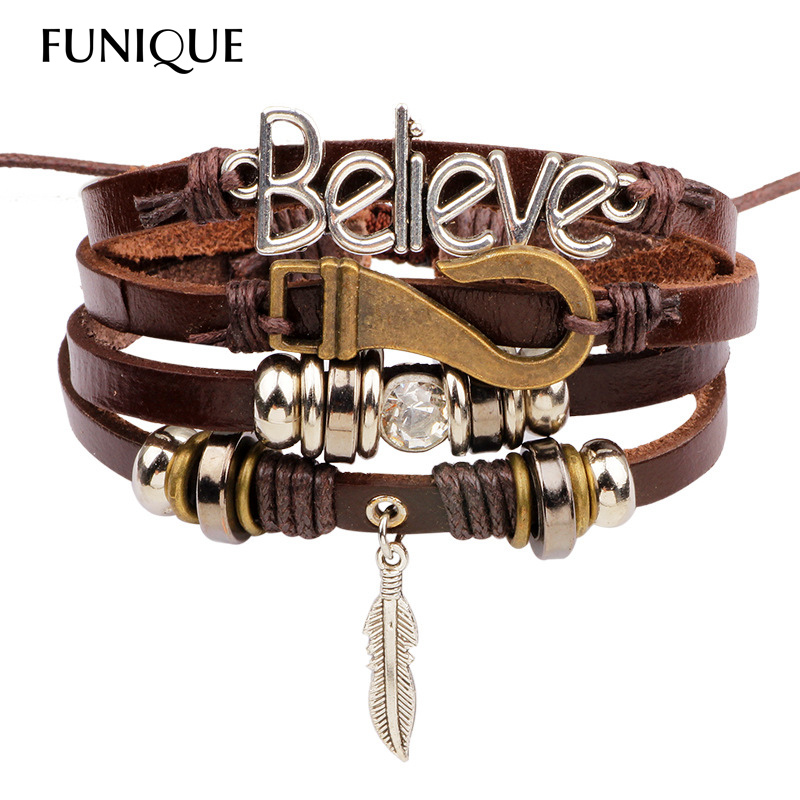 Punk Leather Bracelet Men Believe Leather Charms Multilayer Bead Bracelet Vintage Wrap Bracelets for Women Casual Men Jewelry