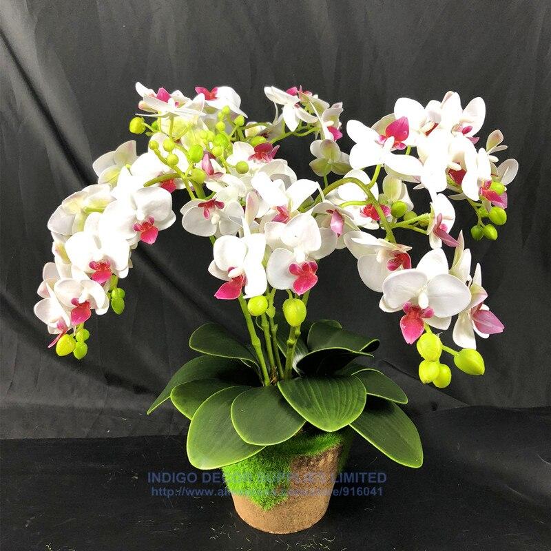 Acheter INDIGO DIY Bonsaï (5 souches fleur + 3 feuilles + 1 vase) 3D Impression Phalaenopsis Orchidée Fleur Artificielle Fleur de mariage Livraison Gratuite de orchid flower artificial fiable fournisseurs