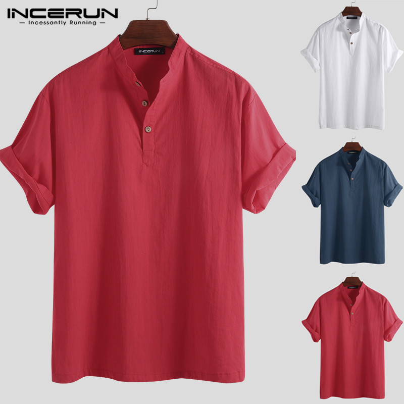 INCERUN 2020 Mens Shirt Cotton Button Stand Collar Solid Color Loose Tops Short Sleeve Casual Brand Shirts Men Harajuku Chemise