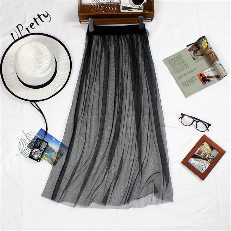 Women Spring Summer Mesh Long Skirt  Casual Sexy High Waist Transparent One Layer Lace Hollow Out A Line Bodycon Black Skirt