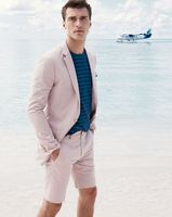 Latest Coat Pant Designs Hot Pink Linen Beach Men Suit Short Pant Slim Fit Tuxedo Prom Suits Custom Groom Blazer Terno Masculino