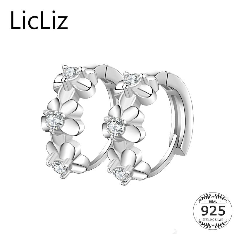 LicLiz 925 Sterling Silver Flower Hoop Earrings Women Circle Loop Huggie Earring Cubic Zirconia Ear Hoops Charms Earrings LE0343
