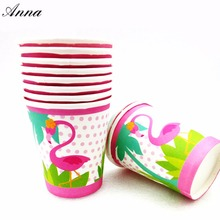 10pcs/lot Flamingo Party Supplies Paper Cup Cartoon Birthday Decoration Baby Shower Theme Boys Flamingo Party цена