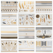 12pcs/ Boho Temporary Gold Silver Tattoos Stickers Jewelry Sheet Of Metallic Body Art Tattoos Stickers Drop Shipping