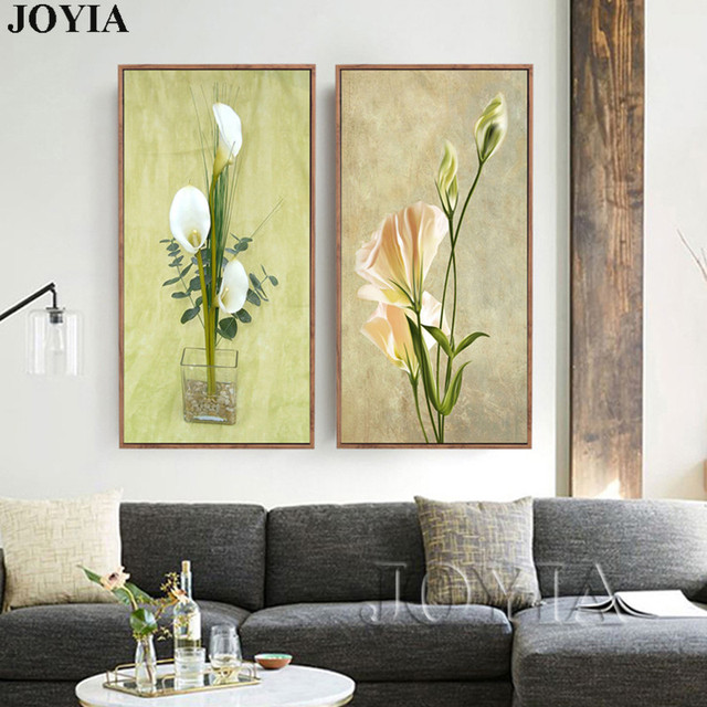 Flower Wall Pictures Decoration Abstract Paintings On Canvas Vintage ...
