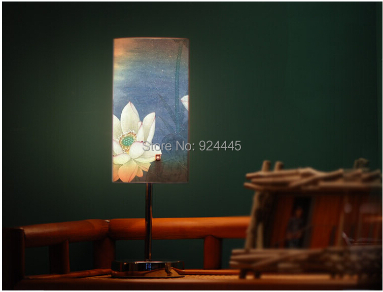 Fresh and elegant chinese style lotus eco-friendly pvc small e27 led table lamp bed-lighting livingroom study lamp DY-1076