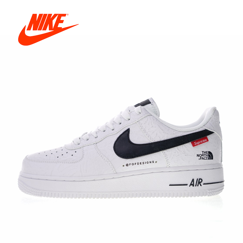 Original New Arrival Authentic Nike Air Force 1 X Supreme X The North Face Men's Skateboarding Shoes Outdoor Sneakers AR3066-100
