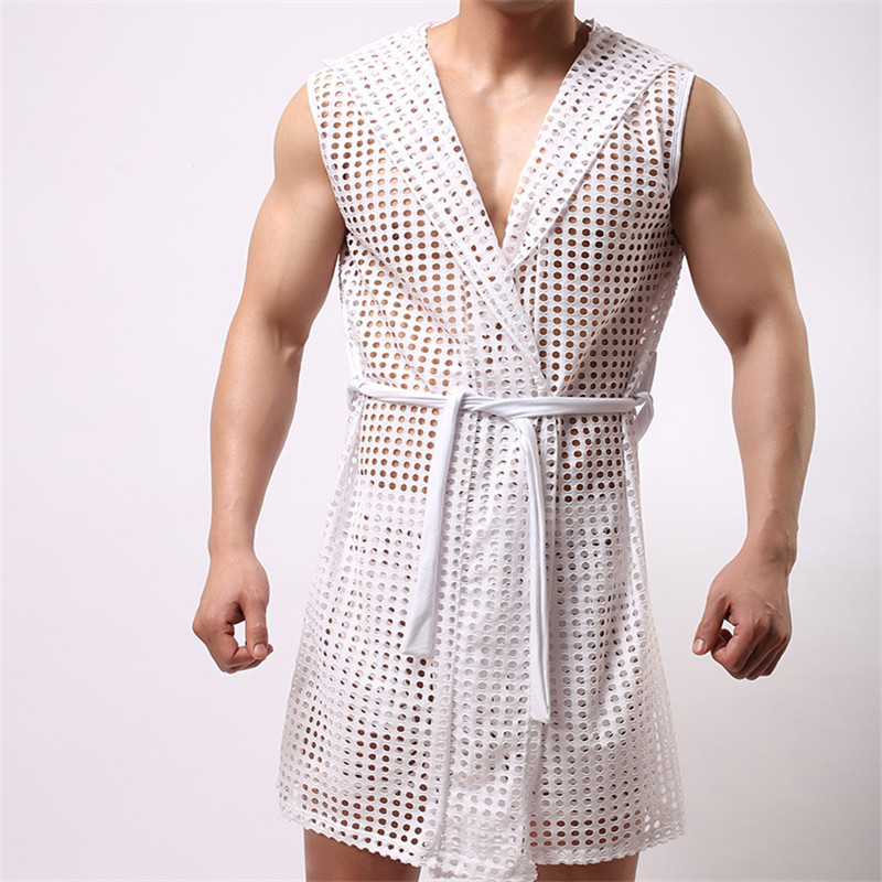 Mens underwear transparent men mesh sexy gay sleepwear long johns mens