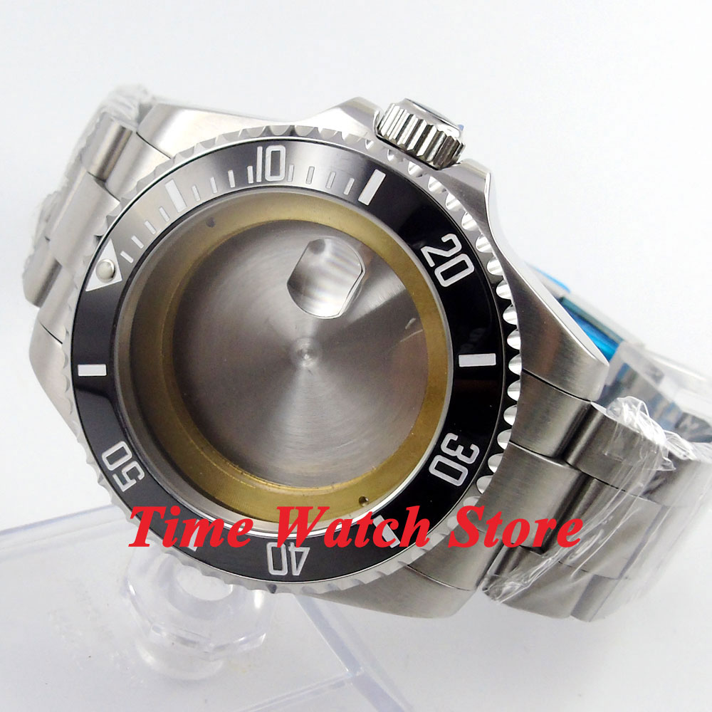 43mm Sapphire glass black ceramic bezel Watch Case with bracelet fit ETA 2824 2836 movement 54 цена и фото