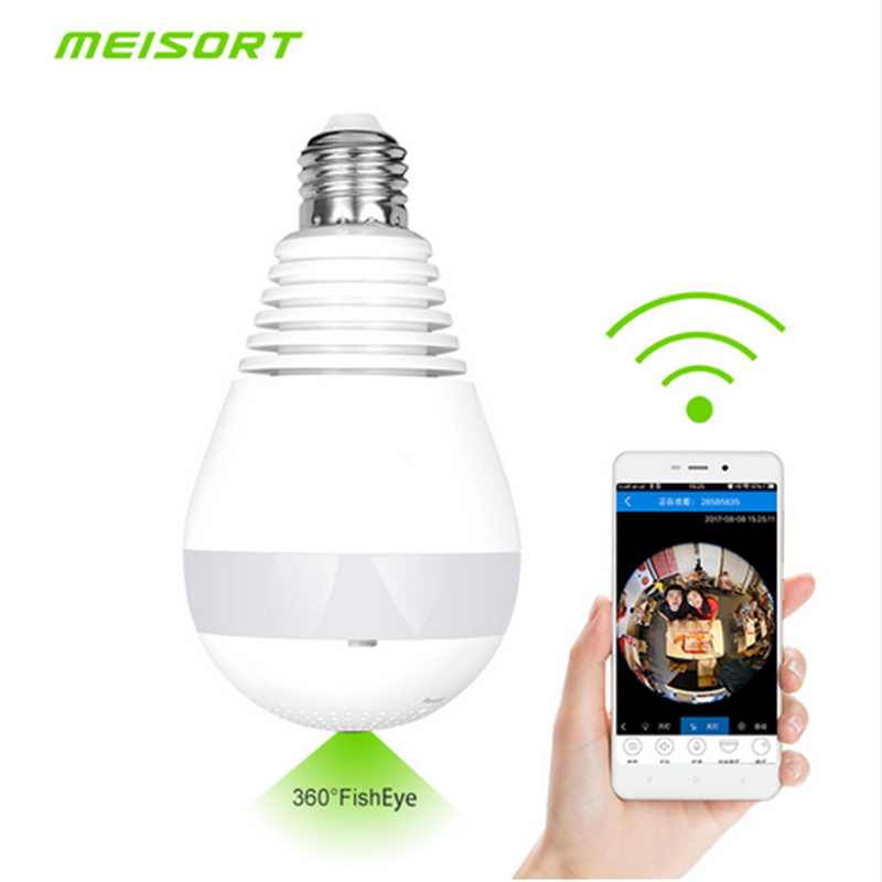 Meisort Bulb LED Light Wifi IP Camera Wi-fi Fisheye HD 960P 360 degree CCTV VR Camera 1.3MP Home Security WiFi Panoramic Camera vr360 panoramic camera wi fi remote control sports action camera