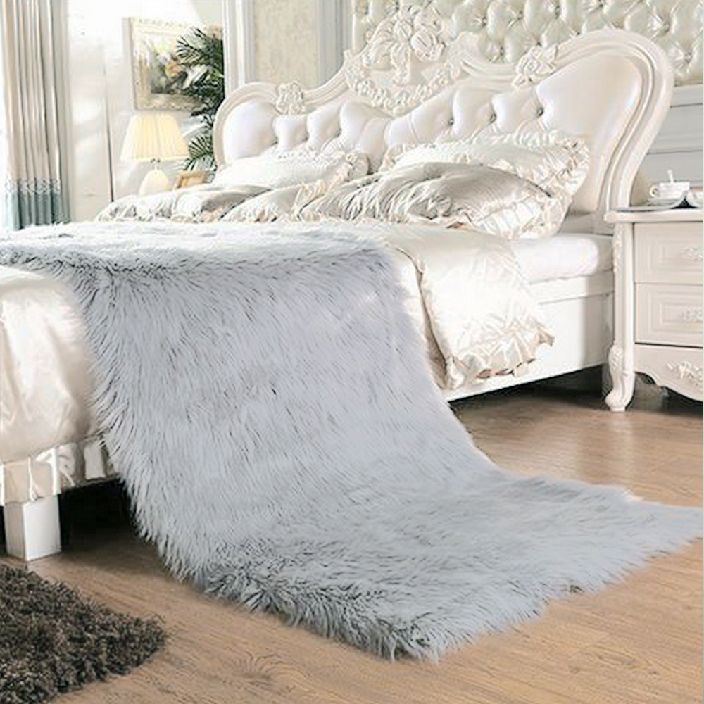 Yazi Luxury Grey Rectangle Sheepskin Hairy Carpet Faux Mat Seat Pad Fur Plain Fluffy Soft Area