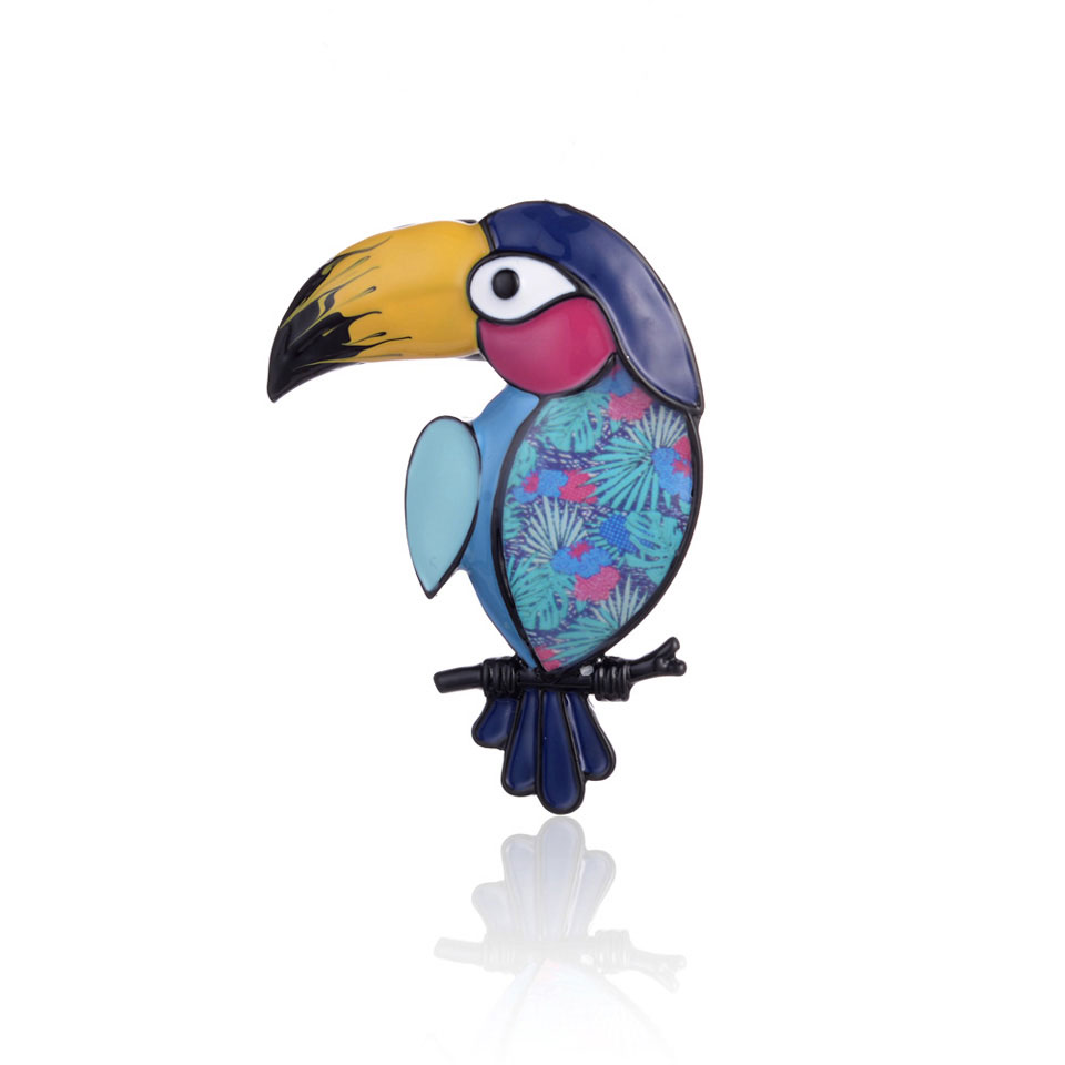 2019 Fashion Parrot Brooch Pin Metal Hot Vintage Blue Animal Bird Scarf Bag Jewellery Pins and Brooches Woman Jewelry for Women in Brooches from Jewelry Accessories