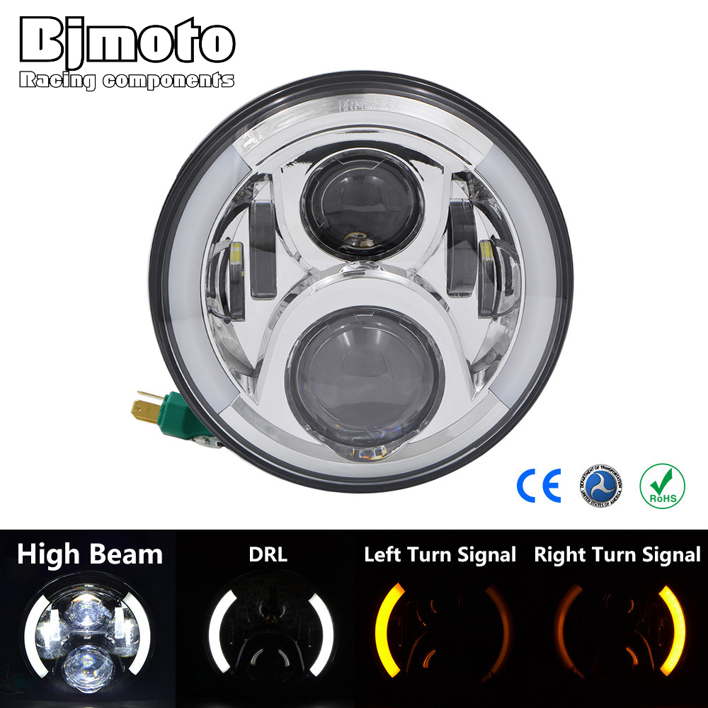 7 LED Projector Headlight  Daymaker High/Low Beam Headlamp with turn signal Light For Harley Street Glide Softail FLHX FLS FLD partol 7 round led projector black headlight pc lens with drl for h d fld trike touring softail flhtcuse 7 sealed beam