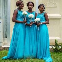 New Arrival Long Chiffon A Line Blue Bridesmaid Dresses 2018 Cheap Appliques Bridesmaid Dresses robe de soiree Z634