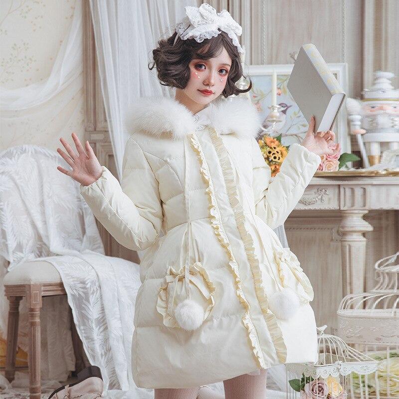 D'hiver Parka Long Doux blanc À Chaud Manteau Capuchon De Femmes Lolita Fourrure Rose Raton Laveur IwItSRq