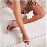Hotsale Women's Shoes Pointed Peep Toe High shoes Transparent PVC heeled Shoes Ladies Party Thin Heels Sandals women Pump