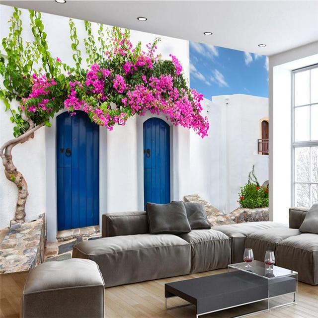 beibehang custom 3d wallpaper romantic warm greek santorini love sea