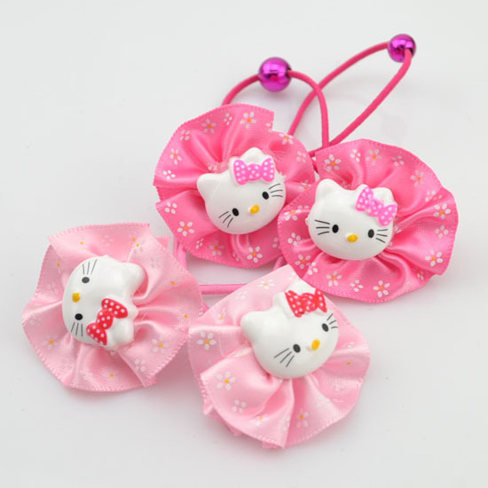 Cute Baby kid children girl Elastic Hair bands circle  kitty design rubber band color mix hair accessories o H3