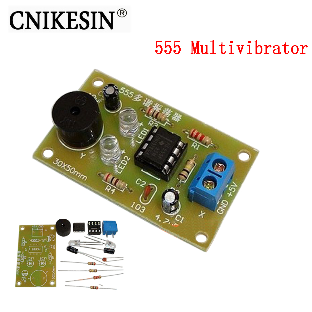 CNIKESIN 555 multivibrator DIY electronic components parts assembly training suite PCB fun making
