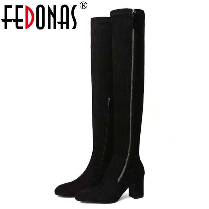 FEDONAS Sexy Women Tight High Dancing Party Shoes Woman High Heels Long Warm Winter Snow Boots Ladies Over The Knee High Boots цены онлайн