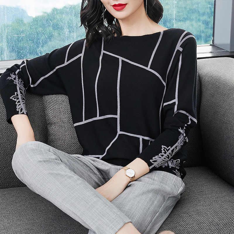 YISU Mode Frauen Geometrie Druck Pullover Langarm Strickwaren Herbst winter Pullover hohe qualität Gestrickte pullover