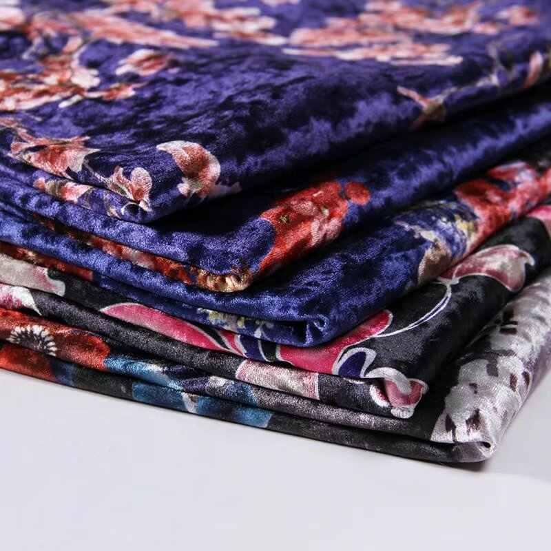 2018 new 150cm wide silk velour fabric silk velvet fabric for velvet dress silk fabric autumn printed silk velvet fabric LL016