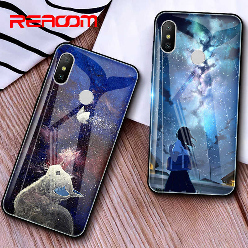 Tempered Glass Case for Xiaomi Redmi Note 6 pro Phone Case for Xiaomi Mi A1 A2 Lite Redmi 6A 5 plus Note 5 4X Patterned TPU Case