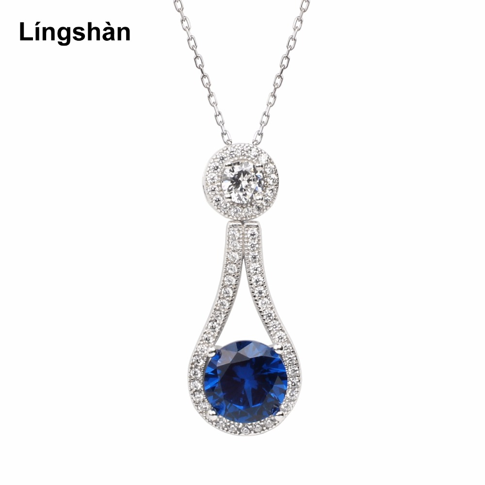 women solid sterling silver 925 pendant necklace 18 inch cable chain 8 0mm round cubic zirconia