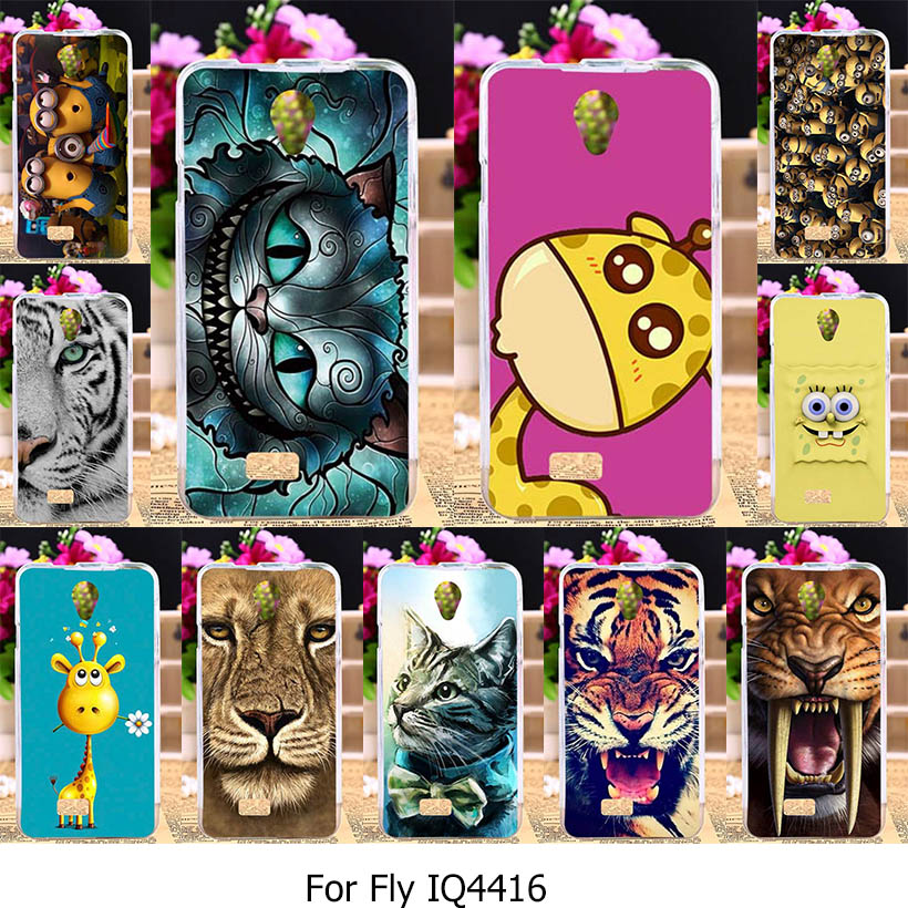 TAOYUNXI Silicone Phone Cover Case for Fly IQ4416 Fly quad Era Life 5 IQ 4416 life5 4.5 inch Case TPU Animal Patterns Cover