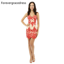 Forevergracedress 2017 Sexy Sheath Cocktail Dress New Arrival Sleeveless Short Evening Party Dress Plus Size Custom Made