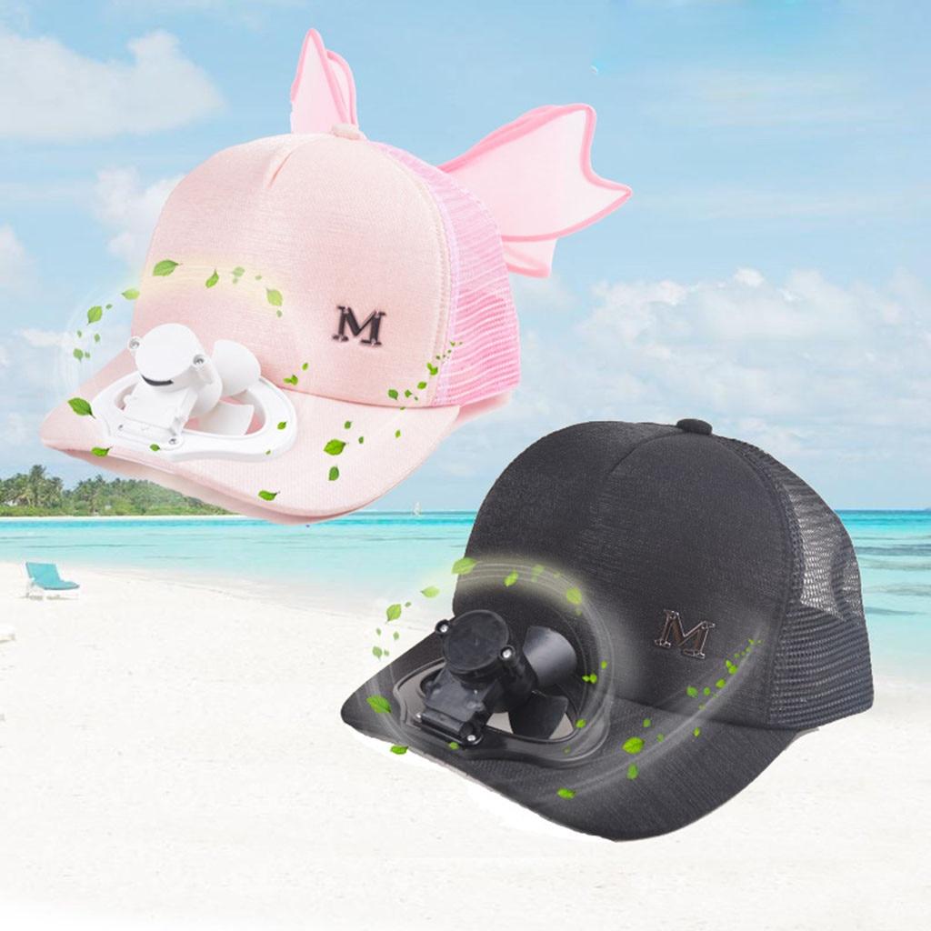 2019 New Summer Fan Cooling   Baseball     Cap   Hat USB Charging Breathable Shade Sunscreen Hat Unisex Women Men Cotton Letter Print