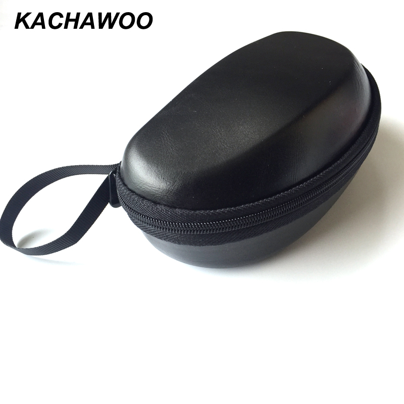 Kachawoo black hard case for sunglasses fashion durable PU leather zipper box storage for glasses accessories wholesale