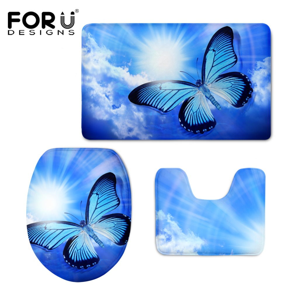 HUGSIDEA 3D Beauty Butterfly Print Toilet Seat Covers Mat Warmer Soft Bathroom Carpet Toilet WC Accessories 3 PCS Set Home Decor