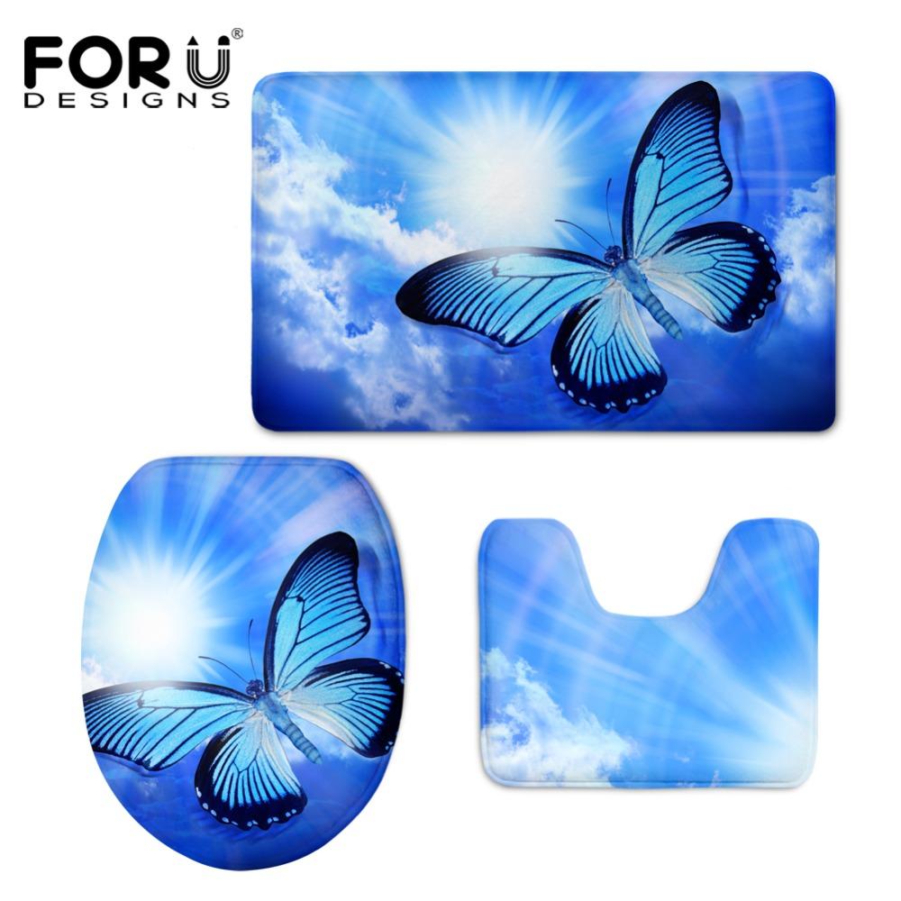 Hugsidea 3d Schönheit Schmetterling Drucken Toilettensitzabdeckungen Matte  Wärmer Soft Badezimmer Carpet Wc Wc Zubehör 3 Stücke